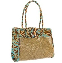 Straw Zebra Animal Print Large Tote